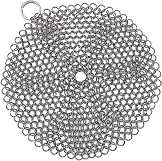 FENFEN Stainless Steel Cast Iron Skillet Cleaner Chainmail Cleaning Scrubber for Cast Iron Pre-Seasoned Pan Griddle Pans BBQ Grills(7 inch Round)