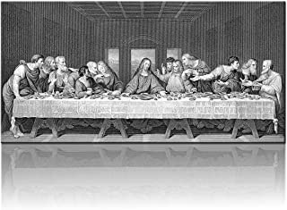 "Cuadros Para Dormitorios the Last Supper Wall Decor Room Wall Pictures Jesus Christ Painting on Canvas Moderm Artwork Piece/Panel Home Decor for Living Room Giclee Framed Ready to Hang(20""X40"")"