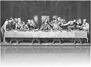 """Black and White Wall Art The Last Supper Decor by Leonardo da Vinci Pictures Cuadros De Pared De Sala Painting on Canvas Moderm Home Artwork for Living Room Giclee Framed Ready to Hang(24""""X48"""")"""