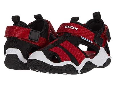 Geox Kids Wader 11 (Toddler/Little Kid) (Black/Red) Boy