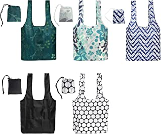 Earthwise Reusable Grocery Bag Set Shopping Totes Foldable With Attached Pouch Rip Stop Nylon Cloth Machine Washable Sturd...
