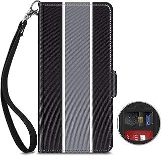 ELTD HUAWEI P30 lite ケース 手帳型(au HUAWEI P30 lite Premium HWV33 / UQ mobile/Ymobile HUAWEI P30 lite/HUAWEI Nova 4e ) カード収納 財布型 ハンドストラップ付き携帯便利 横置きスタンド機能 マグネット式オン/オフしやすい 軽量 落下防止 耐衝撃 シンプル ブラック