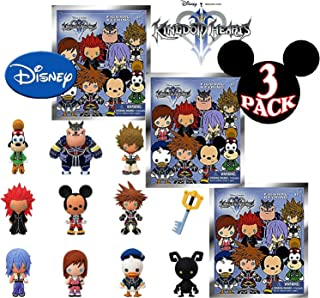 Disney Kingdom Hearts Series 1 3D Foam Figures Collectible Blind Bag Key Rings Gift Set Party Bundle - 3 Pack (Assorted)
