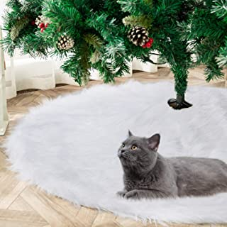 YEAHOME Christmas Tree Skirt 48IN White, Soft Faux Fur Tree Skirts Xmas Tree Skirts for Christmas Decoration Party