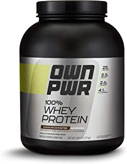 OWN PWR 100% Whey Protein Powder, Chocolate Cake Batter,  25 G Protein with Enzymes, 5 Pound (62 Servings)