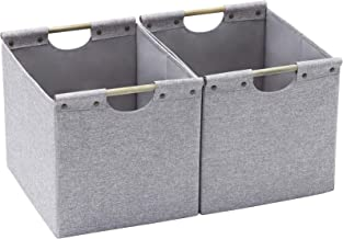 HOONEX Large Foldable Cube Storage Bins, Linen Fabric, 2 Pack, with Wooden Carry Handles and Sturdy Heavy Cardboard, for H...