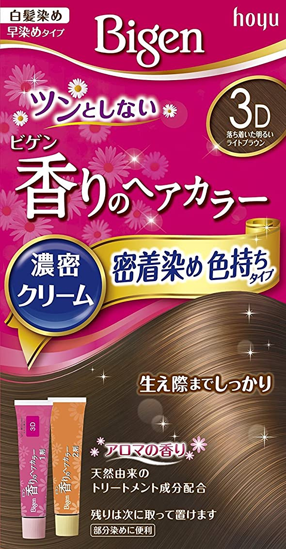 有力者勇気太平洋諸島ホーユー ビゲン香りのヘアカラークリーム3D (落ち着いた明るいライトブラウン) ×3個