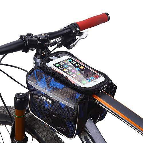 MPTECK @ Bleu Sac porte-bagages de Vélo Sac de guide bicyclette Sacoche de cadre vélo pour smartphone Résister à l'eau Téléphone sous 6.2 pouce Téléphone de Poche amovible pour iPhone Samsung HTC LG