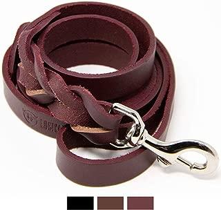 Logical Leather 6 Foot Braided Dog Leash - Heavy Duty Full Grain Leather Lead; Best for Training