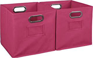 Niche Cheer Home Foldable Fabric Bins Collapsible Cloth Cube Storage Basket, Set Of 2, Hot Pink