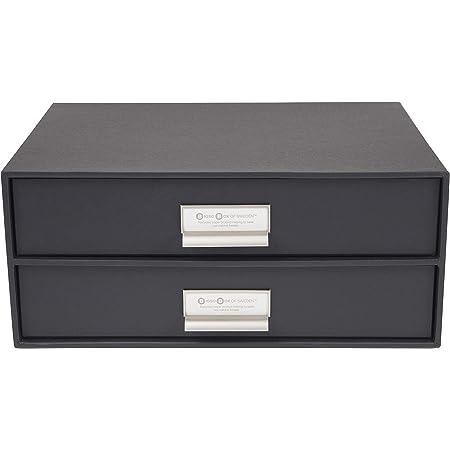 Bigso Box of Sweden 943145644 Module de Rangement à Deux tiroirs, Panneau de Fibre, Gris Foncé, 25,5 x 33 x 14,5 cm