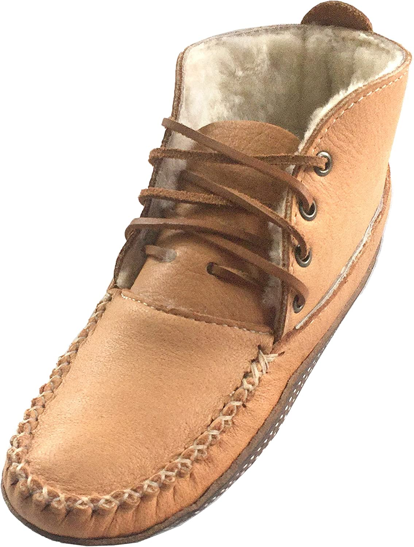 Bastien Industries Women's Moose Hide Leather Sheepskin Lined Earthing Ankle Moccasin Boots Maple Tan