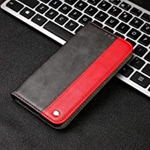 ZHANGYUNSHENG Phone Cases Business Solid Color Stitching Horizontal Flip Leather Case for Xiaomi Redmi Note 7 Pro, with Holder & Card Slots & Wallet & Lanyard (Grey) (Color : Red)