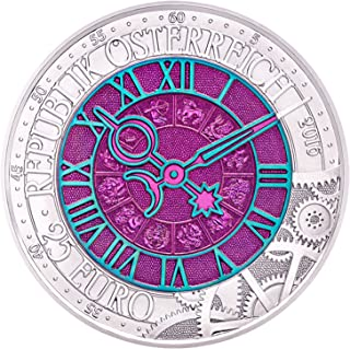 2016 AT TIME Clock Niobium Bimetallic Coin 25€ Euro Silver Mint State