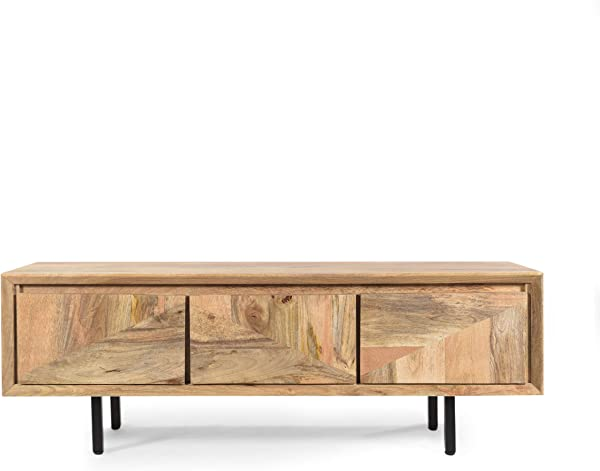 Great Deal Furniture Karen Handcrafted Boho Mango Wood TV Stand Natural And Black