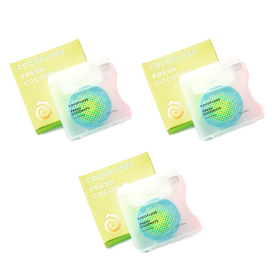 COCOFLOSS Coconut-oil infused luxury dental floss   Dentist Designed   Vegan and Cruelty-Free, GF   Floss Party for Men & Women   6 month Supply (Coconuts)