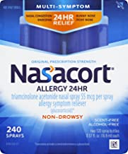 Nasacort Allergy 24 Hour Nasal Spray, Provides Relief for Allergy Symptoms Including Nasal Congestion, Sneezing, Runny Nose, Itchy Nose, Alcohol and Scent Free Nasal Spray, 0.57 Fl Oz (Pack of 2)