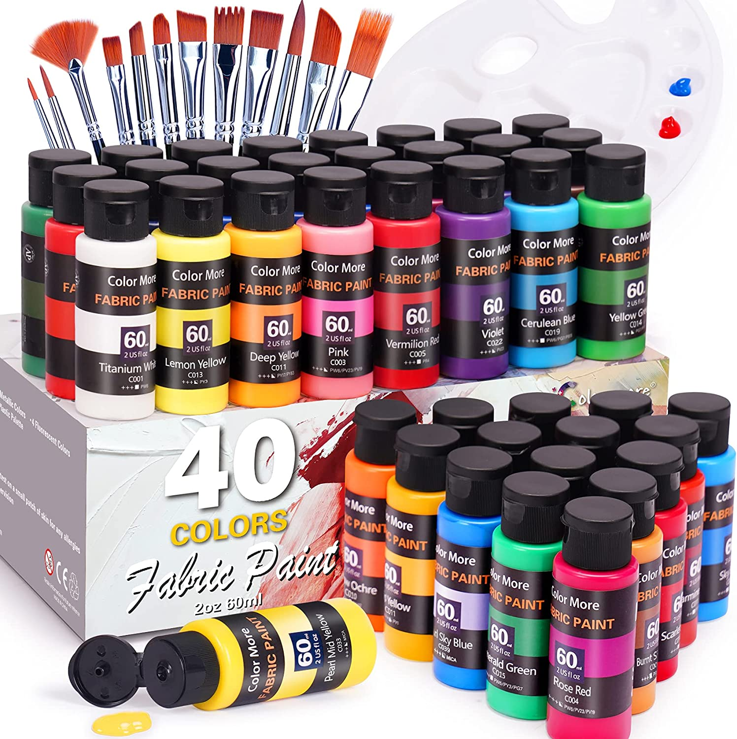 Fabric Paint Set 40 Colors 60ml 12 Oklahoma City Mall B 2oz Textile with Topics on TV Paints