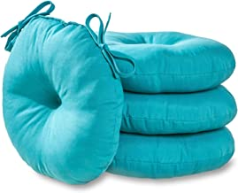South Pine Porch AM6817S4-TEAL Solid Teal 18-inch Round Outdoor Bistro Chair Cushion, Set of 4