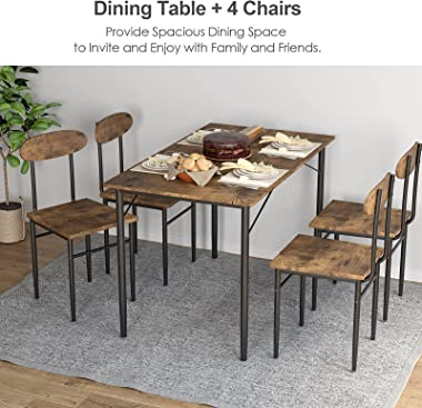 """HOMFY 5 Piece Dining Table Set 47"""" inch Wooden Tabletop Table with 4 Chairs Small Space Table & Chairs for Breakfast Nook"""