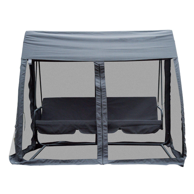 Balancín para jardín de 3 plazas convertible en cama, con mosquitera y cojín, estructura de hierro, 240 x 140 x 197 cm, color gris, gris: Amazon.es: Jardín