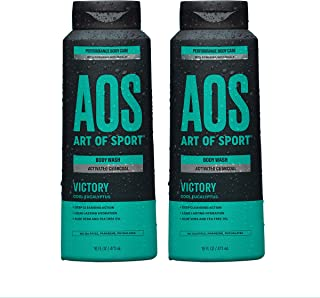 Art of Sport Activated Charcoal Body Wash for Men (2-Pack) - Victory Scent - Cool Eucalyptus Fragrance - Na...