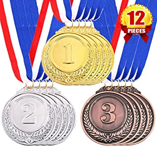 Swpeet 12Pcs Metal Gold Silver Bronze Award Medals with Ribbon, Olympic Style Winner Medals for Kids Children`s Events, Cl...