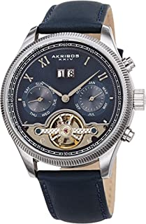 Akribos XXIV Men's Multifunction Skeleton Watch – Genuine Leather Band - Automatic Mechanical Movement, See Through Dial - Day, Date and Month Display - AK1065