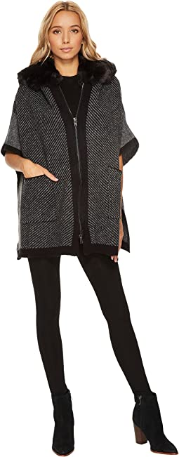 Steve Madden - Zip Front Fur Hooded Thick Knit Ruana
