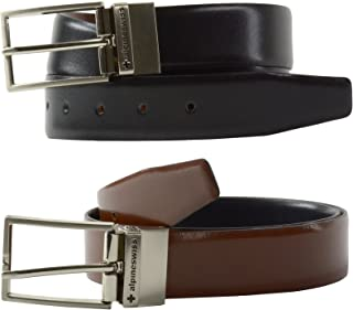 Mens Dress Belt Reversible Black Brown Leather Imported from Spain