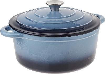 Hamilton Beach 5.5-Quart Enameled Covered Dutch Oven Pot, Blue