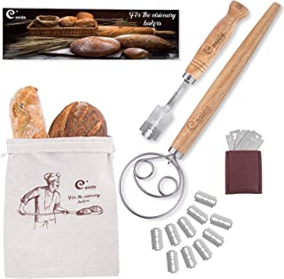 Bread Lame and Danish Whisk Set - Premium Pack Stainless Steel Bread Scoring Tool with Leather Protective Cover 10 Replaceable Razor Blades Danish Dough Hook and Linen Bag for Artisan Homemade Bread