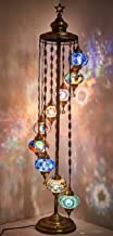 DEMMEX - 9 Big Globes Turkish Moroccan Mosaic Floor Lamp Light, Bohemian Boho Tiffany Mosaic Floor Lamp with AU Plug & Soc...