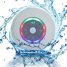 Waterproof Portable Shower Bluetooth 4.0 Speakers Subwoofer by Exkokoro(TM), Colorful LED Effect, Strong Adhesion, Hands-Free Calls for Smartphone All Bluetooth Device(White)