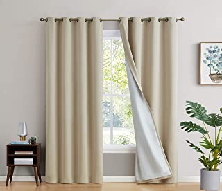 HLC.ME 100% Complete Blackout Lined Drapery with Thick Double Layer Thermal Insulated Energy Efficient Soundproof Window Curtain Grommet Panels for Bedroom & Living Room, 2 Panels (52 W x 84 L, Beige)