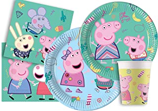 Ciao- Party Y5046 Tafelset Peppa Pig Messy Play (44 stuks: 8 papieren borden Ø23cm, 8 papieren borden Ø20cm, 8 kartonnen b...