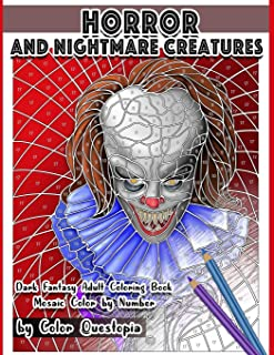 Horror and Nightmare Creatures Mosaic Color by Number Dark Fantasy Adult Coloring Book