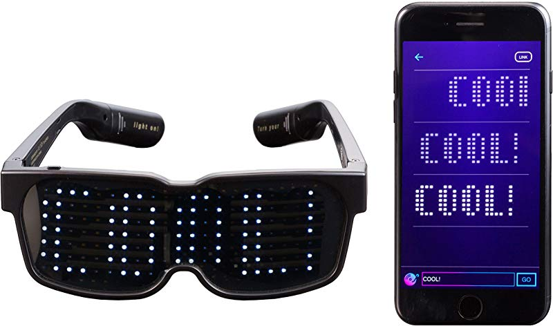 CHEMION Customizable Bluetooth LED Glasses For Raves Festivals Fun Parties Sports Costumes EDM Flashing Display Messages Animation Drawings