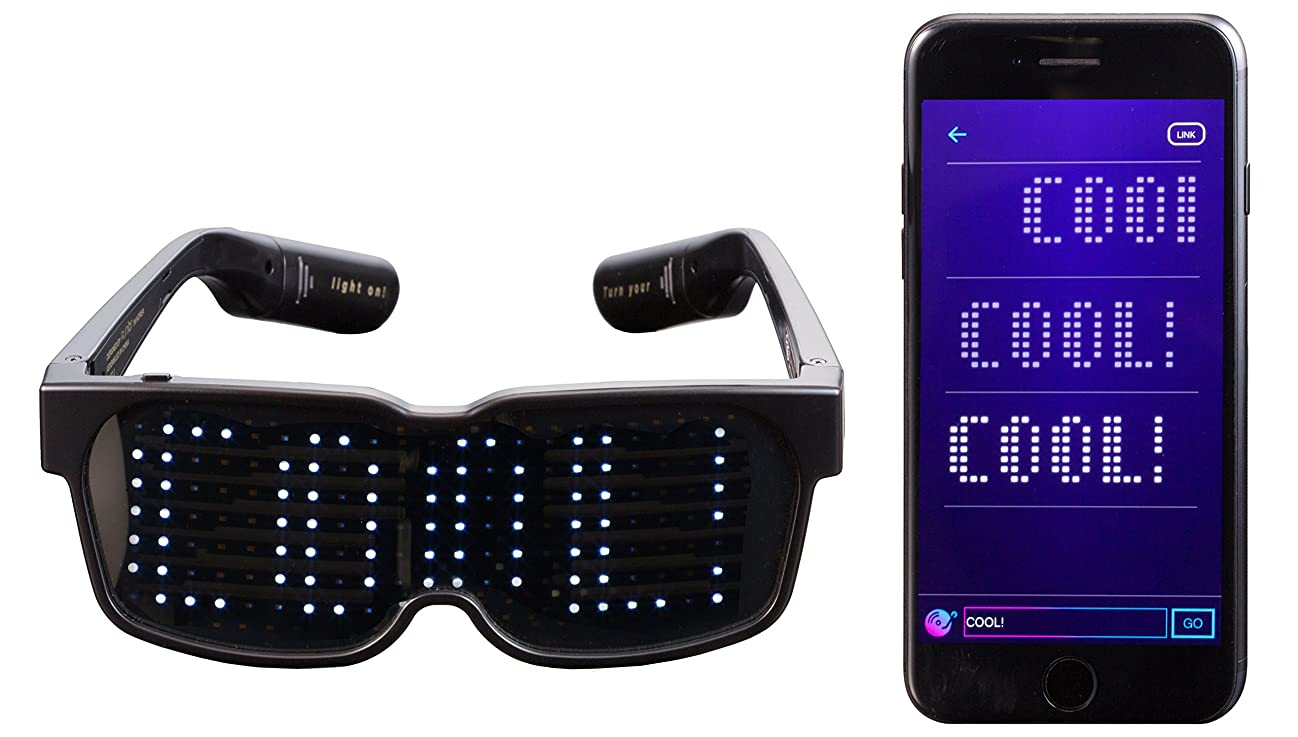 CHEMION - Customizable Bluetooth LED Glasses for Raves, Festivals, Fun, Parties, Sports, Costumes, EDM, Flashing - Display Messages, Animation, Drawings! enkew569917
