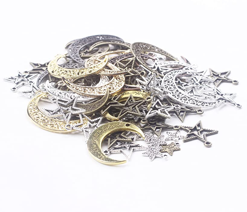 BIHRTC Pack of 100 Metal Moon Star Charms Pendant for DIY Craft Jewelry Making Accessory