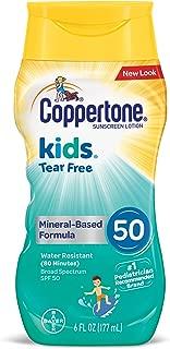 Coppertone Kids Sunscreen Tear Free Mineral Based Water Resistant Lotion Broad Spectrum SPF 50, 6 Fl Oz