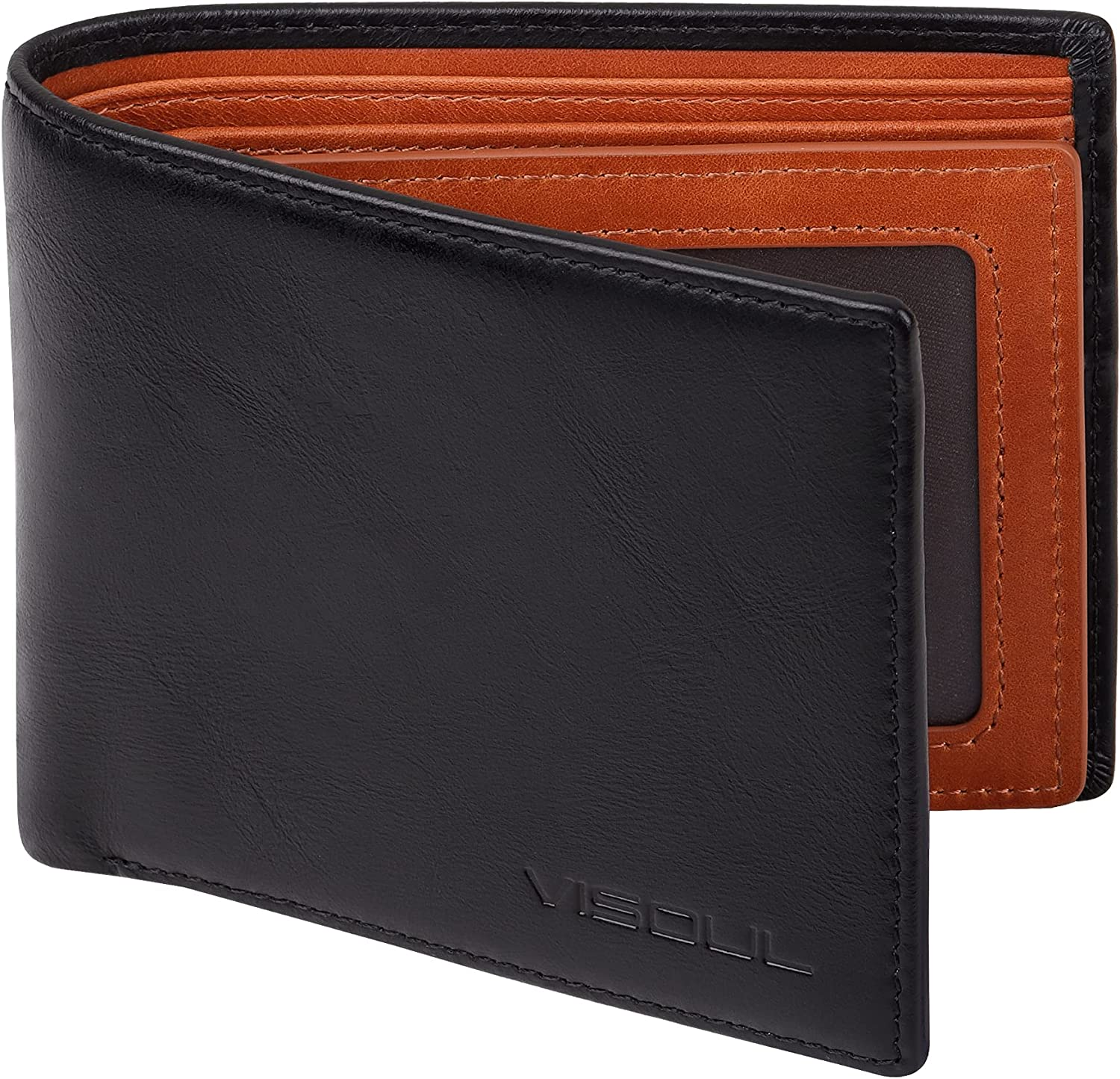 VISOUL Mens Bifold Wallet with 2 ID Windows and 2 Money Compartments, Genuine Leather Multi Card Holder Designer Wallet with RFID Blocking, Stylish Two-tone Back Wallet for Men (Black and Orange)