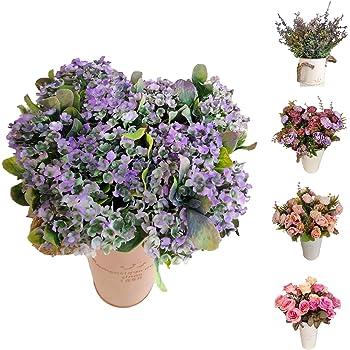 Flores/Plantas Artificiales Decoración Jarrones para Boda Eventos, Paniculata Gypsophila para Decorar Hogar Hotel Tienda Oficina Jardin Masetas (Lila, Flor Pack 4): Amazon.es: Hogar