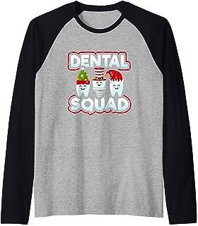Dental Squad Dentist Hygienist Assistant Xmas Christmas Gift Raglan Baseball Tee