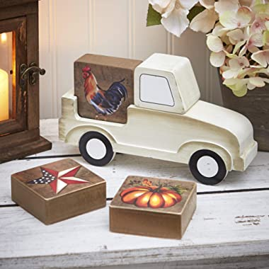 The Lakeside Collection Seasonal Icons Greetings Truck with Wooden Block Signs - 5 Pieces