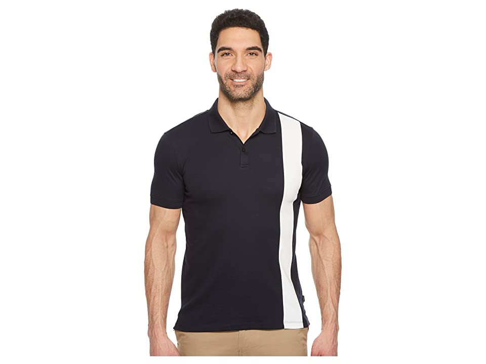 Calvin Klein Color Blocked Stripe Knit Polo (Sky Captain Combo) Men