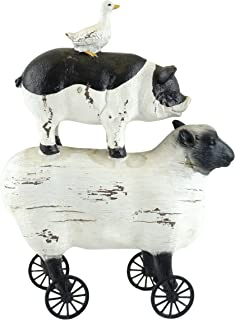 Gerson Stacked Farmhouse Sheep, Pig & Duck Rolling Figurine