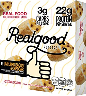 Real Good Foods, Low Carb - High Protein - Gluten Free, Uncured Bacon & Cheddar Poppers, 9 oz. (8 Count)