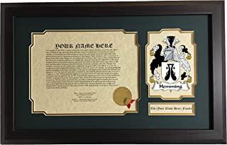 Hemming - Coat of Arms and Last Name History, 14x22 Inches Matted and Framed