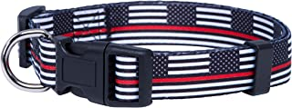 Native Pup Thin Red Line Flag Dog Collar